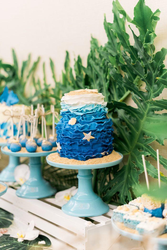 Sea Themed Cake from a Tropical Seaside Bar Mitzvah on Kara's Party Ideas   KarasPartyIdeas.com (10)
