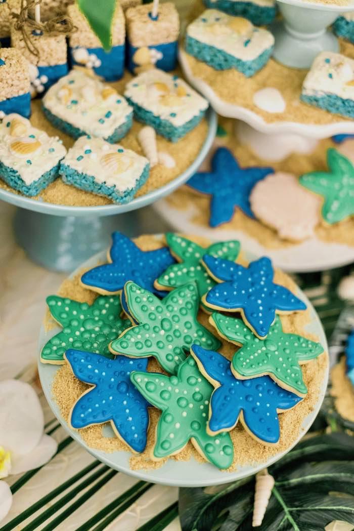 Starfish Cookies from a Tropical Seaside Bar Mitzvah on Kara's Party Ideas   KarasPartyIdeas.com (5)