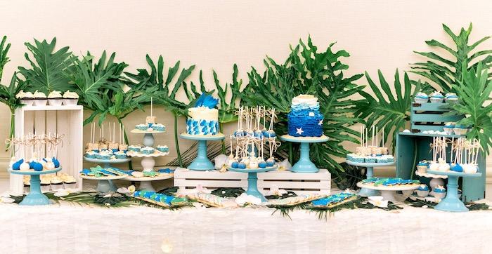Dessert Table from a Tropical Seaside Bar Mitzvah on Kara's Party Ideas   KarasPartyIdeas.com (3)
