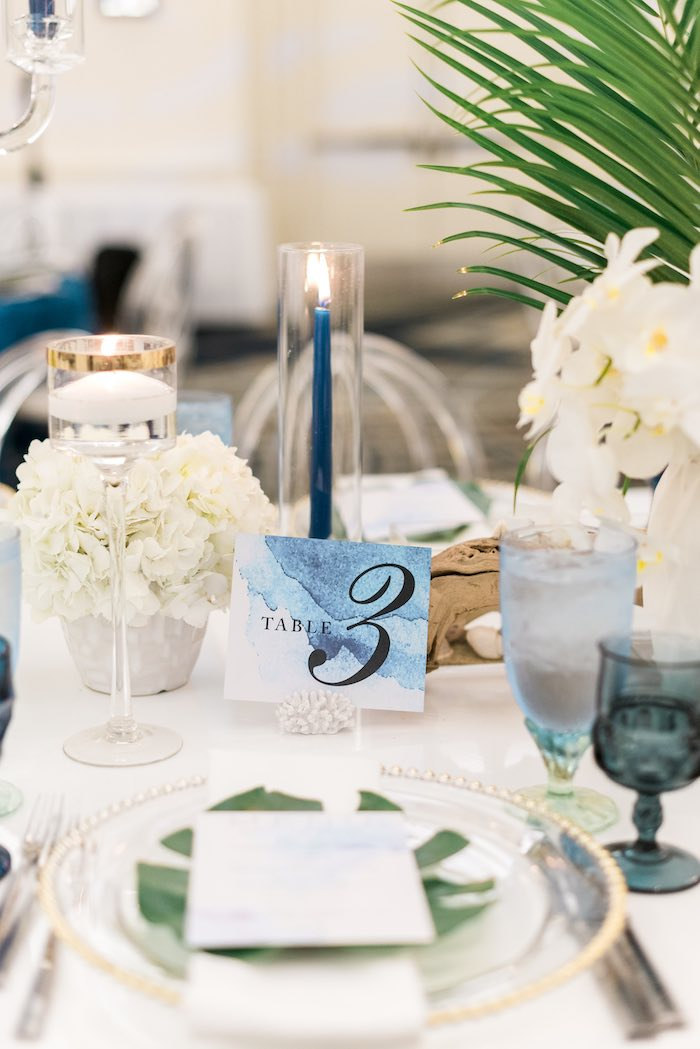 Sea-inspired Table Number Card from a Tropical Seaside Bar Mitzvah on Kara's Party Ideas   KarasPartyIdeas.com (29)