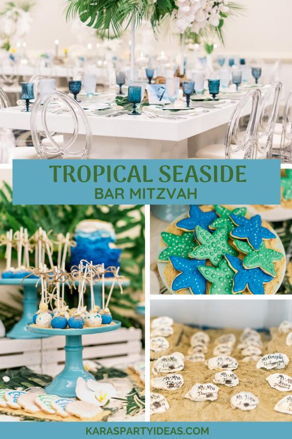Tropical Seaside Bar Mitzvah via Kara's Party Ideas - KarasPartyIdeas.com