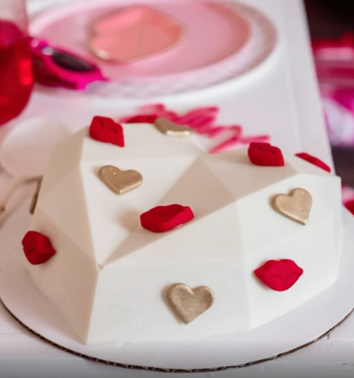 Geometric Heart Cake from a Valentine Cupid Party for Kids on Kara's Party Ideas | KarasPartyIdeas.com (9)
