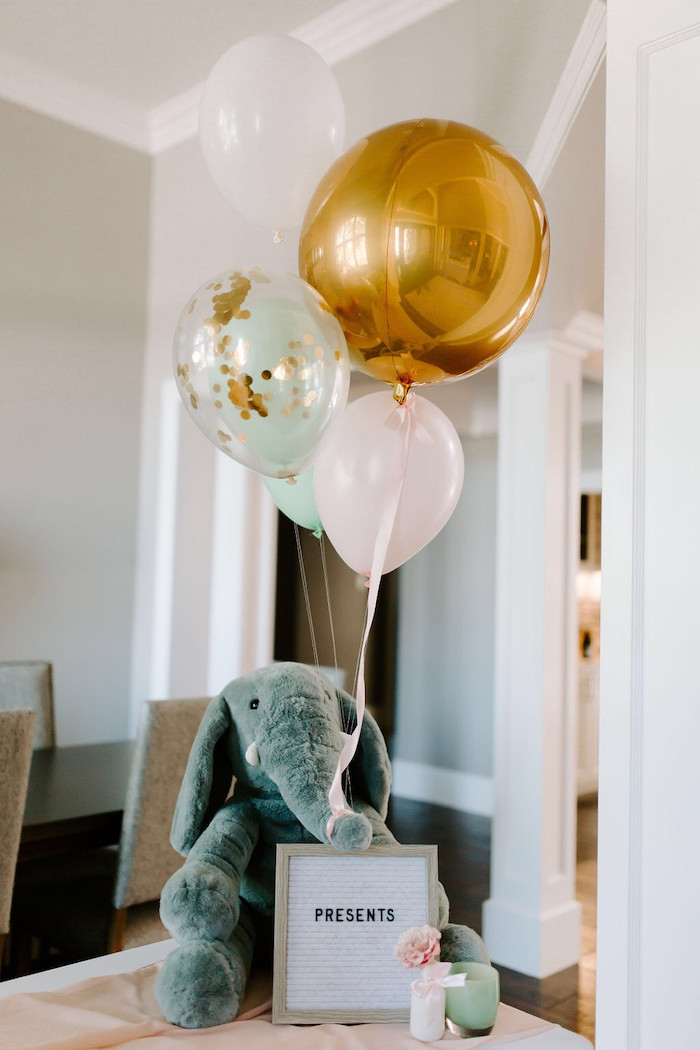 Plush Elephant Present Table Signage from a Whimsical Modern Baby Shower on Kara's Party Ideas | KarasPartyIdeas.com (28)