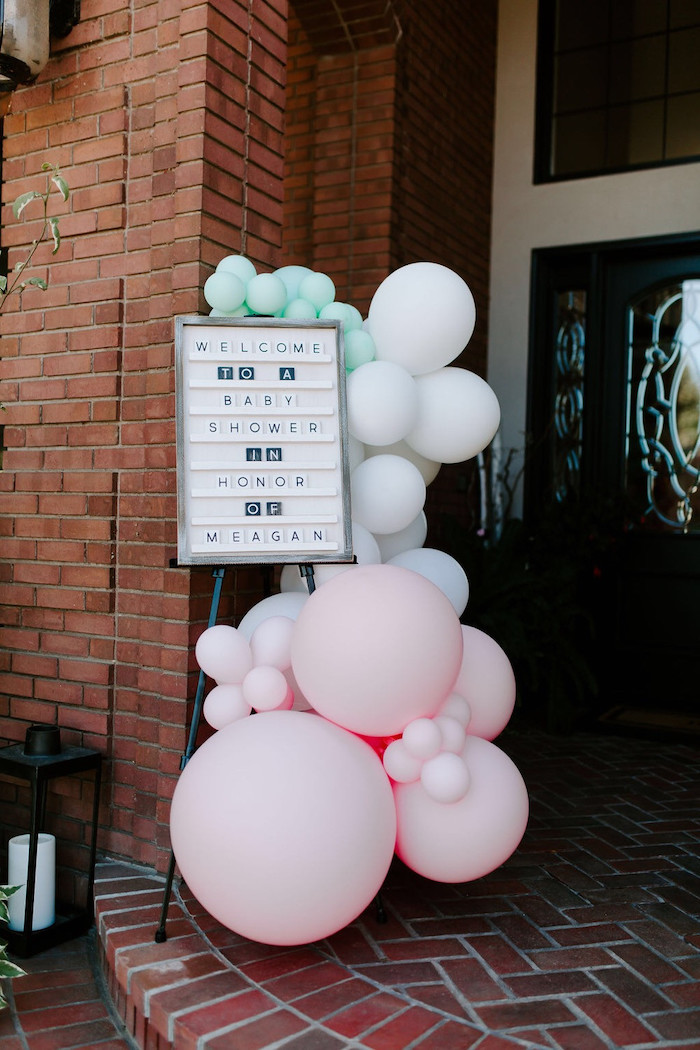Letter Board & Balloon Welcome Sign from a Whimsical Modern Baby Shower on Kara's Party Ideas | KarasPartyIdeas.com (25)