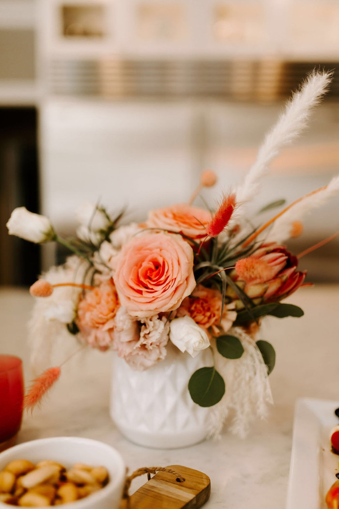 Whimsical Floral Arrangement + Blooms from a Whimsical Modern Baby Shower on Kara's Party Ideas | KarasPartyIdeas.com (15)