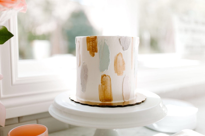 Modern Brushed Cake from a Whimsical Modern Baby Shower on Kara's Party Ideas | KarasPartyIdeas.com (11)