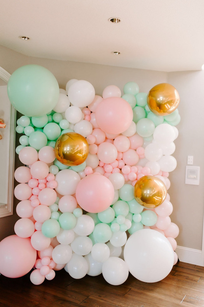Balloon Backdrop + Photo Wall from a Whimsical Modern Baby Shower on Kara's Party Ideas | KarasPartyIdeas.com (38)