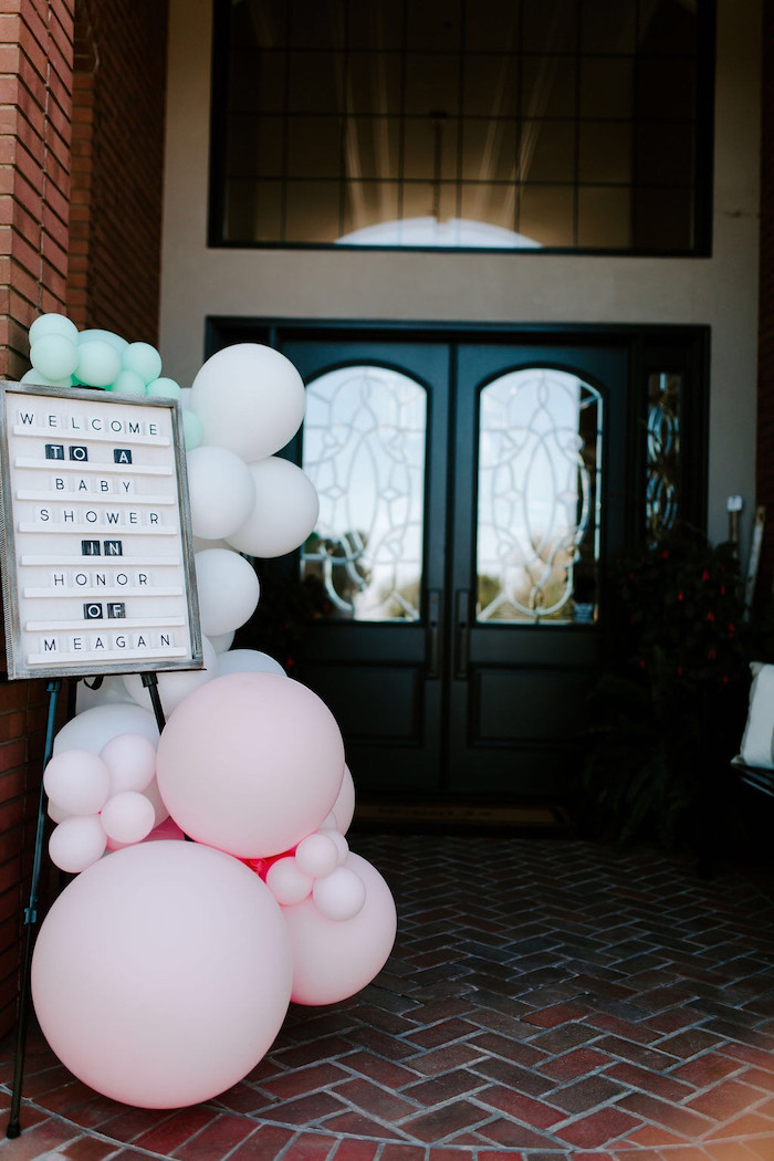 Letter Board & Balloon Welcome Sign from a Whimsical Modern Baby Shower on Kara's Party Ideas | KarasPartyIdeas.com (10)