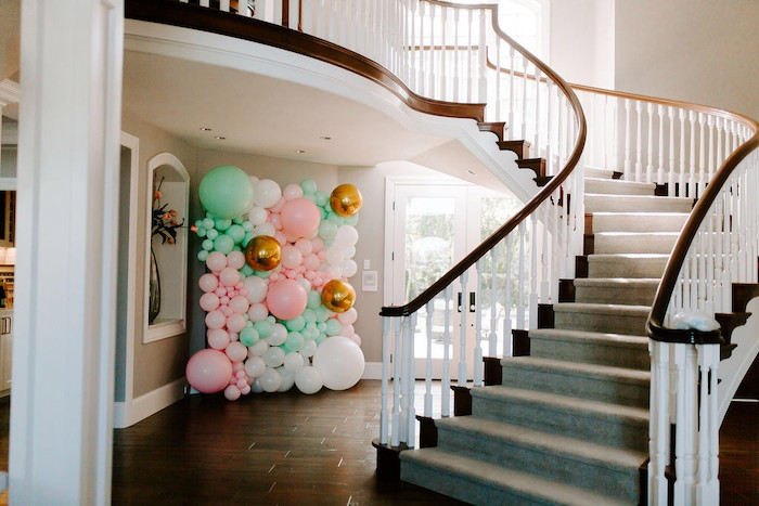 Party Entrance Balloon Wall from a Whimsical Modern Baby Shower on Kara's Party Ideas | KarasPartyIdeas.com (9)