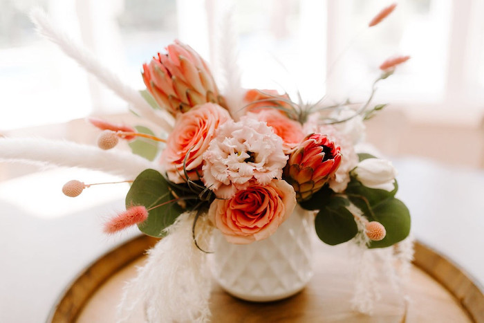 Whimsical Floral Arrangement + Blooms from a Whimsical Modern Baby Shower on Kara's Party Ideas | KarasPartyIdeas.com (6)