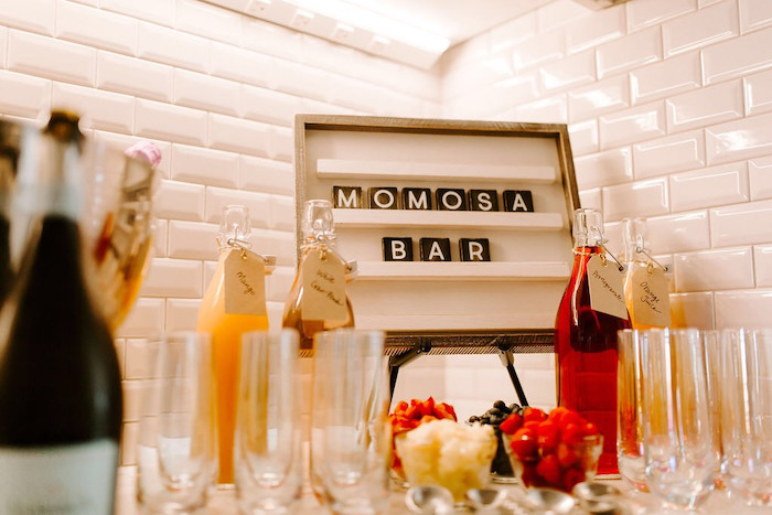 """Momosa"" Bar from a Whimsical Modern Baby Shower on Kara's Party Ideas 