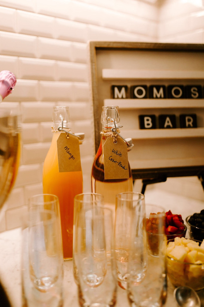 """Momosa"" Bar Mix-in Bottles from a Whimsical Modern Baby Shower on Kara's Party Ideas 