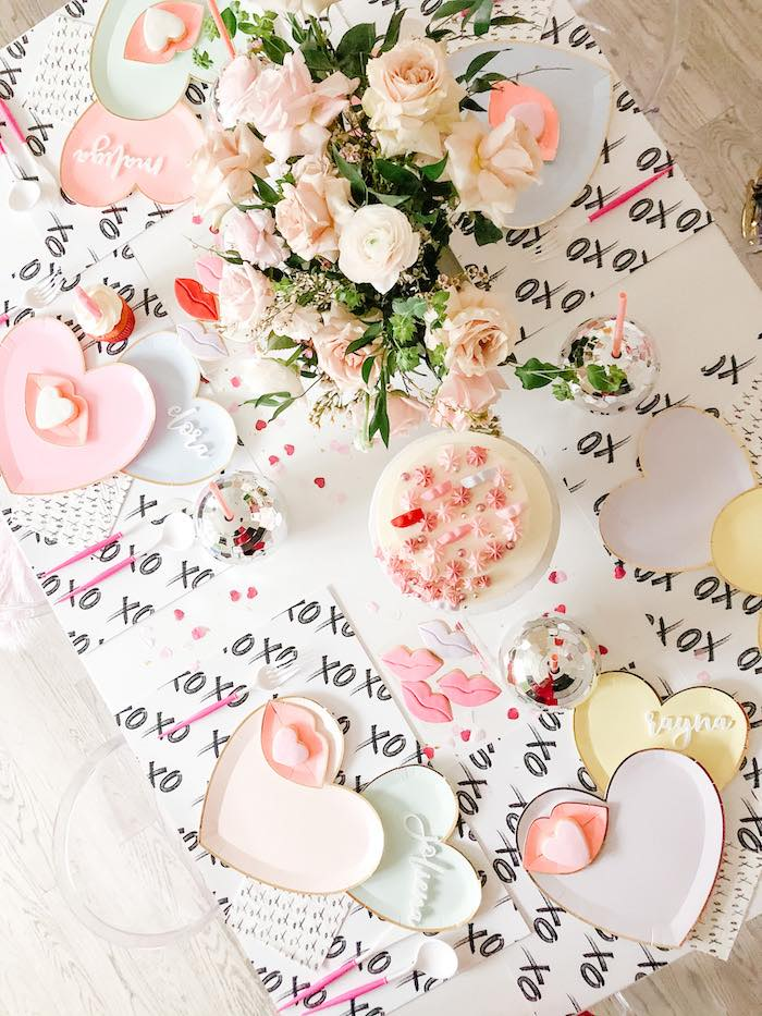 "XOXO Valentine's Day Party Table from a ""Lips like Sugar"" Galentine's Party on Kara's Party Ideas 