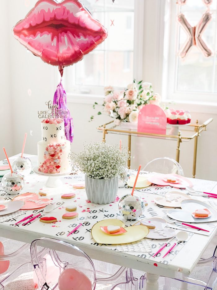 "XOXO Valentine's Party Table from a ""Lips like Sugar"" Galentine's Party on Kara's Party Ideas 
