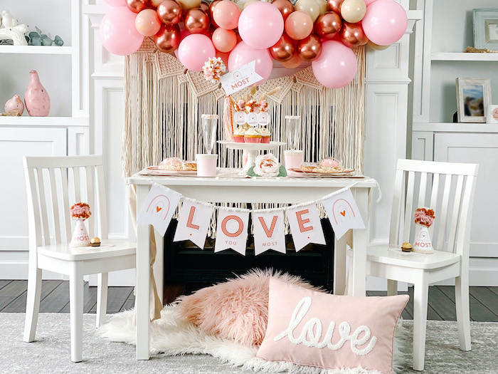 """Love You Most"" Muted Boho Valentine's Day Party on Kara's Party Ideas 