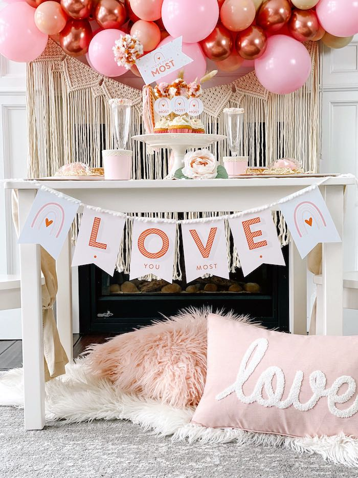 """Love You Most"" Valentine's Day Guest Table from a ""Love You Most"" Muted Boho Valentine's Day Party on Kara's Party Ideas 