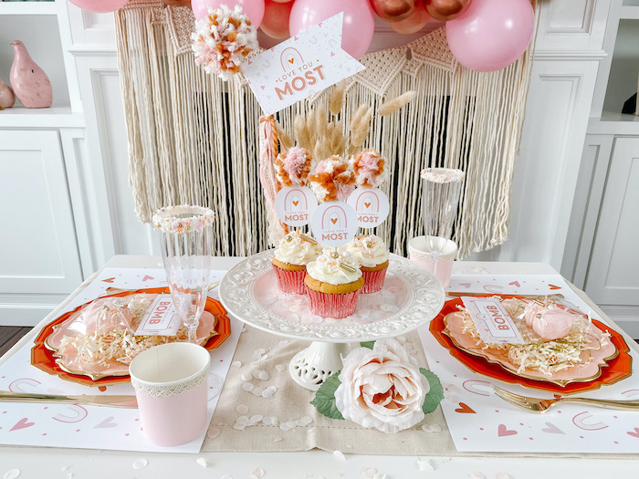"Valentine's Day Guest Table from a ""Love You Most"" Muted Boho Valentine's Day Party on Kara's Party Ideas 