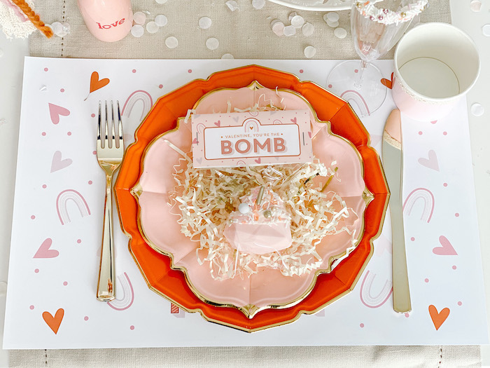 "Valentine You're The Bomb Table Setting from a ""Love You Most"" Muted Boho Valentine's Day Party on Kara's Party Ideas 