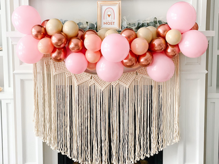 "Boho Macrame Balloon Banner from a ""Love You Most"" Muted Boho Valentine's Day Party on Kara's Party Ideas 