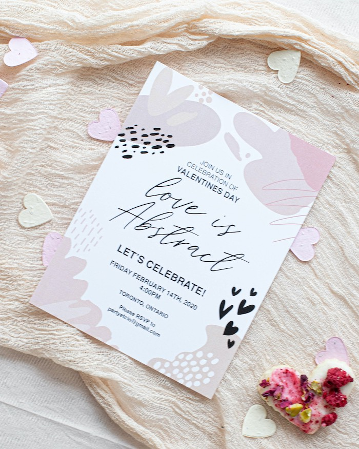 """Valentine's Day Party Invite from a """"Love is Abstract"""" Valentine's Day Party on Kara's Party Ideas 