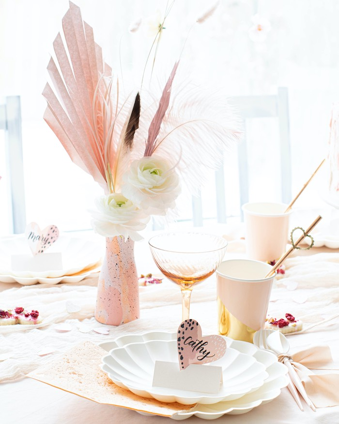 """Valentine's Day Party Table Setting from a """"Love is Abstract"""" Valentine's Day Party on Kara's Party Ideas 