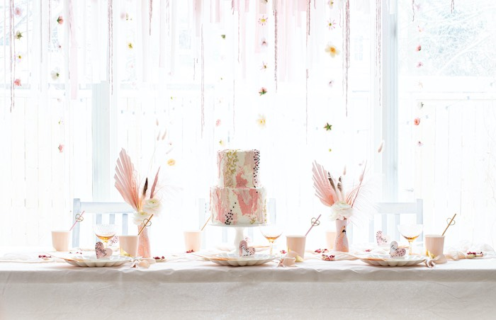 """Valentine's Day Party Table from a """"Love is Abstract"""" Valentine's Day Party on Kara's Party Ideas 