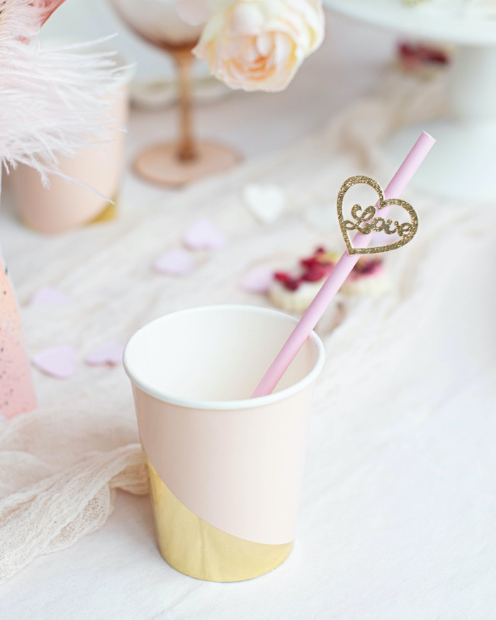 """Pink + Gold Cup with Heart Straw from a """"Love is Abstract"""" Valentine's Day Party on Kara's Party Ideas 