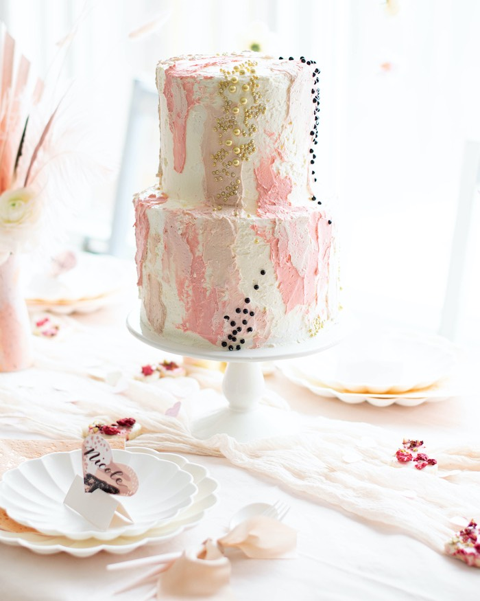 """Pink + White Abstract Art-inspired Cake from a """"Love is Abstract"""" Valentine's Day Party on Kara's Party Ideas 