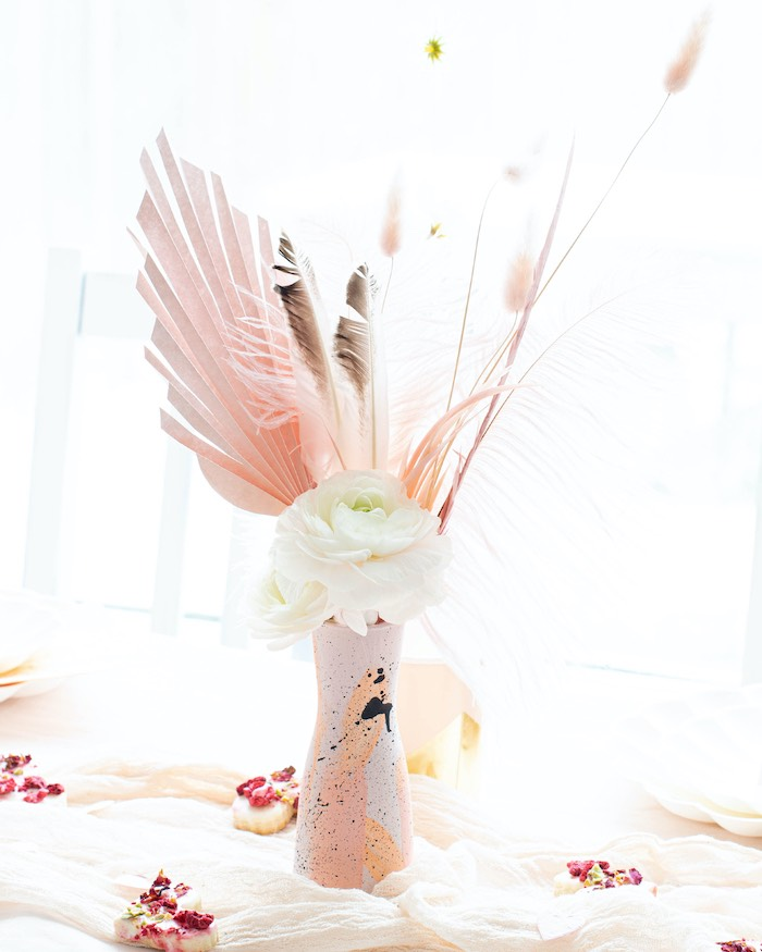 """Modern Pink + White Floral Arrangement from a """"Love is Abstract"""" Valentine's Day Party on Kara's Party Ideas 