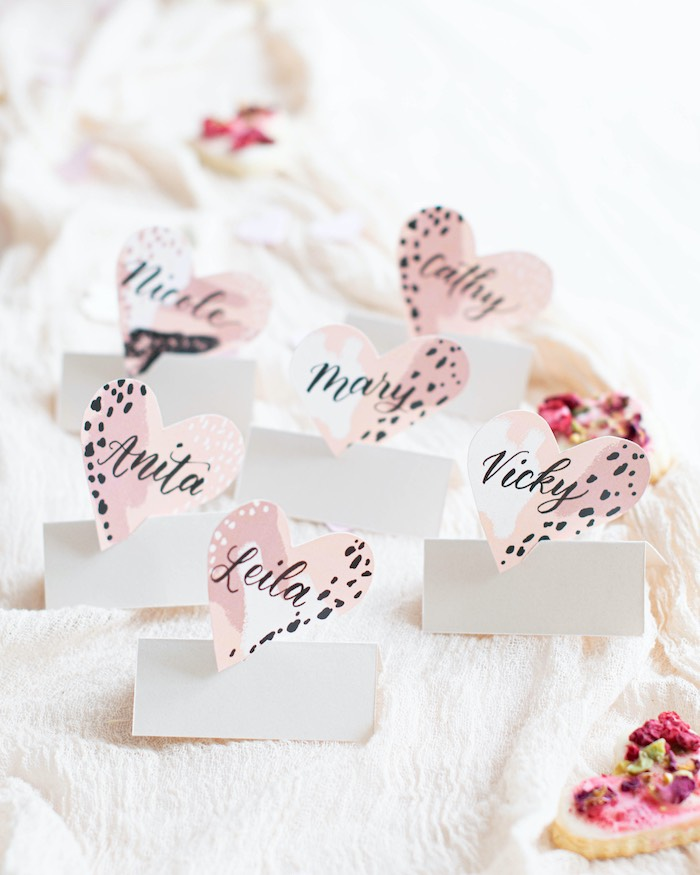 """Leopard Print Heart Place Cards from a """"Love is Abstract"""" Valentine's Day Party on Kara's Party Ideas 