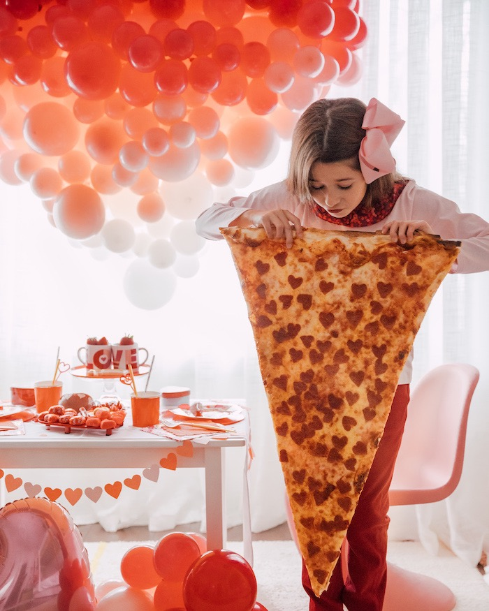 "Giant Heart Pepperoni Pizza Slice from a ""Love you to Pizzas"" Valentine's Day Party on Kara's Party Ideas 