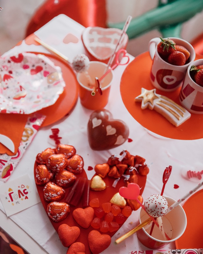 "Heart-shaped Candy Charcuterie Board from a ""Love you to Pizzas"" Valentine's Day Party on Kara's Party Ideas 