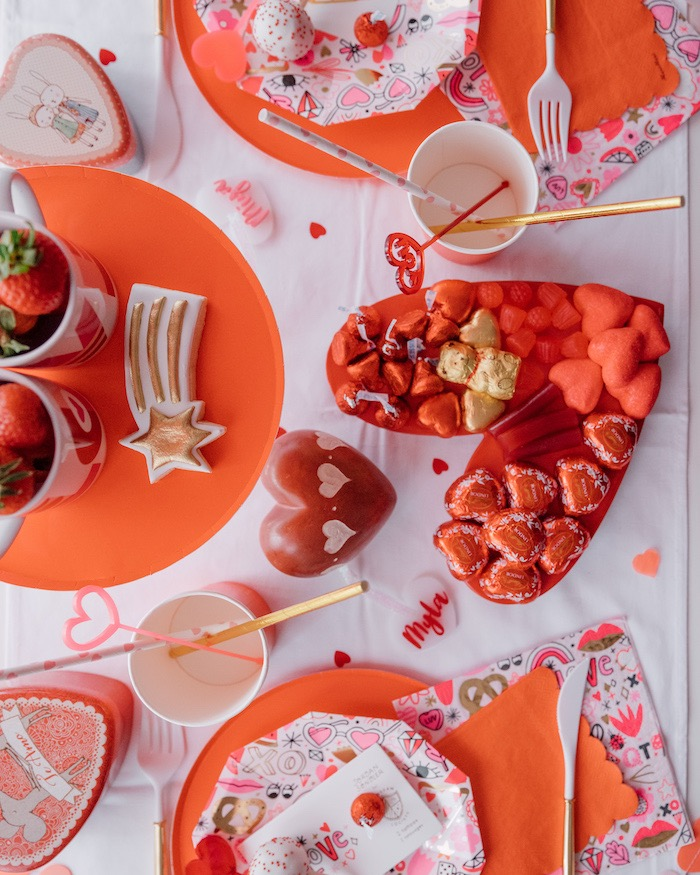 "Heart-shaped Candy Charcuterie Board + Valentine Guest Table from a ""Love you to Pizzas"" Valentine's Day Party on Kara's Party Ideas 