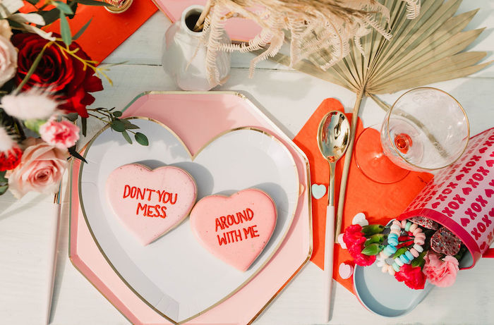 """Heart Plate Table Setting from a """"You're a Heartbreaker"""" Rock & Roll Valentine's Day Party on Kara's Party Ideas   KarasPartyIdeas.com (26)"""