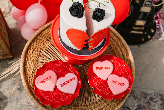 "Heartbreaker Cookies from a ""You're a Heartbreaker"" Rock & Roll Valentine's Day Party on Kara's Party Ideas   KarasPartyIdeas.com (25)"