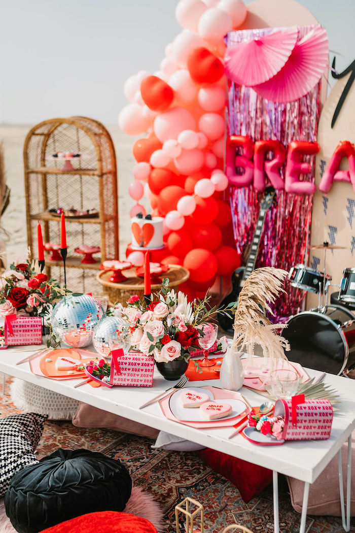 """Valentine's Day Party Kid Table from a """"You're a Heartbreaker"""" Rock & Roll Valentine's Day Party on Kara's Party Ideas   KarasPartyIdeas.com (23)"""