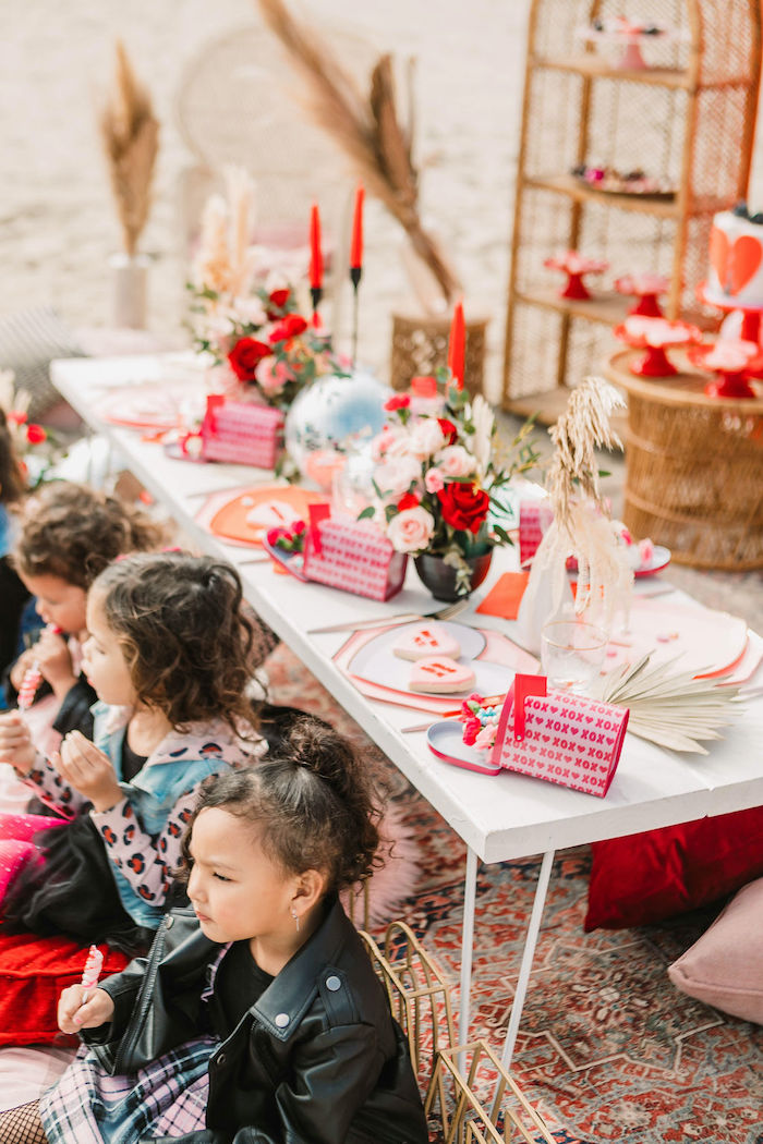 """Valentine's Day Party Kid Table from a """"You're a Heartbreaker"""" Rock & Roll Valentine's Day Party on Kara's Party Ideas   KarasPartyIdeas.com (17)"""
