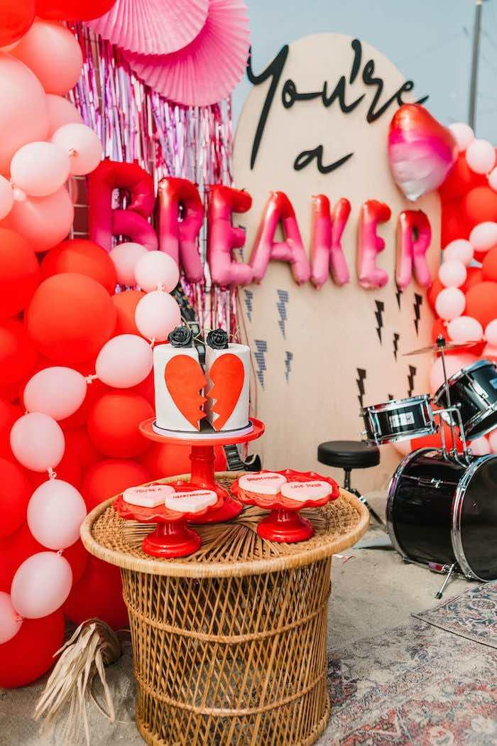 "Heartbreaker Cake + Sweet Table from a ""You're a Heartbreaker"" Rock & Roll Valentine's Day Party on Kara's Party Ideas   KarasPartyIdeas.com (16)"