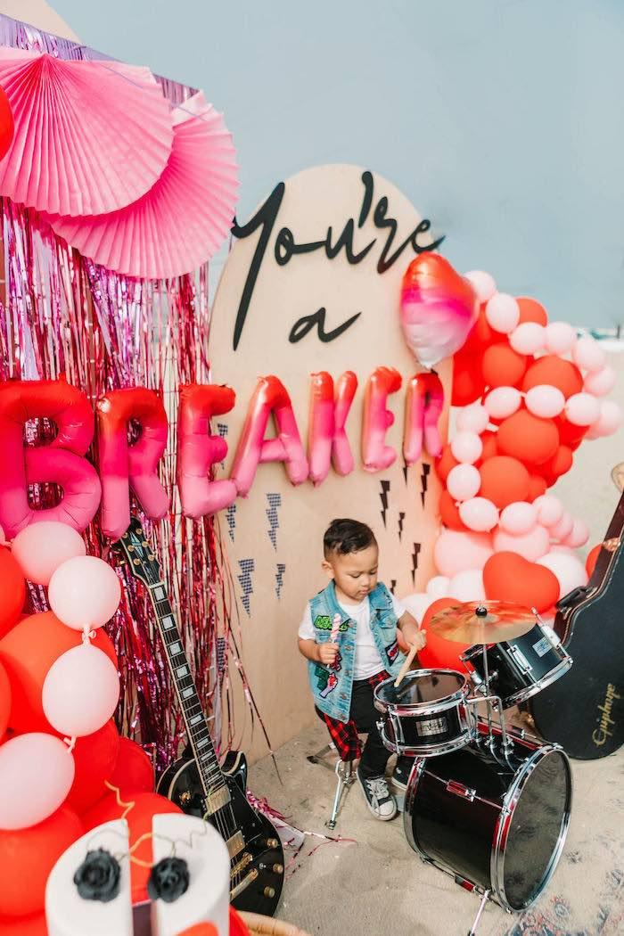 "Heartbreaker Backdrop from a ""You're a Heartbreaker"" Rock & Roll Valentine's Day Party on Kara's Party Ideas   KarasPartyIdeas.com (14)"