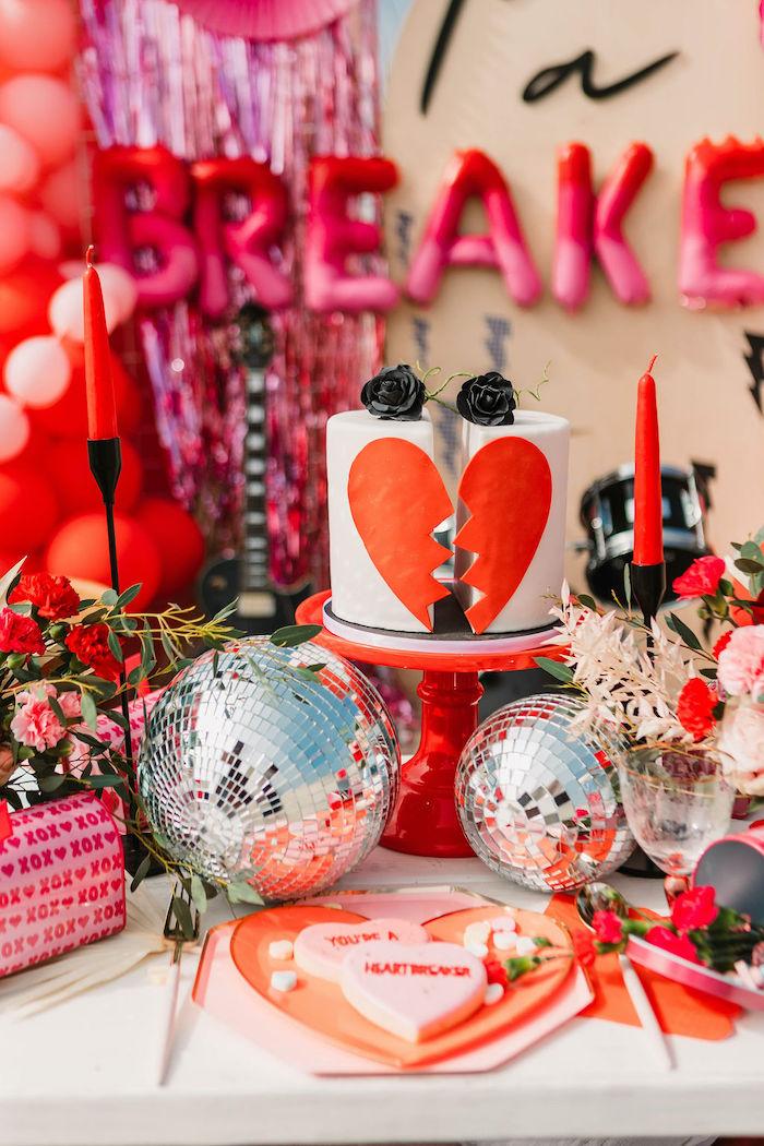 "Heartbreaker Cake from a ""You're a Heartbreaker"" Rock & Roll Valentine's Day Party on Kara's Party Ideas   KarasPartyIdeas.com (12)"