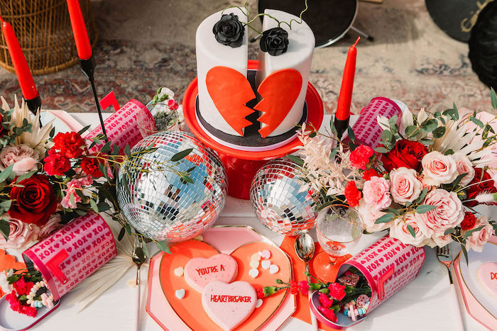 """Heartbreaker Cake + Cookies + Guest Table from a """"You're a Heartbreaker"""" Rock & Roll Valentine's Day Party on Kara's Party Ideas   KarasPartyIdeas.com (11)"""