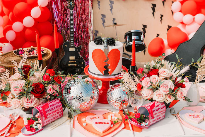 """Cake + Guest Table from a """"You're a Heartbreaker"""" Rock & Roll Valentine's Day Party on Kara's Party Ideas   KarasPartyIdeas.com (10)"""