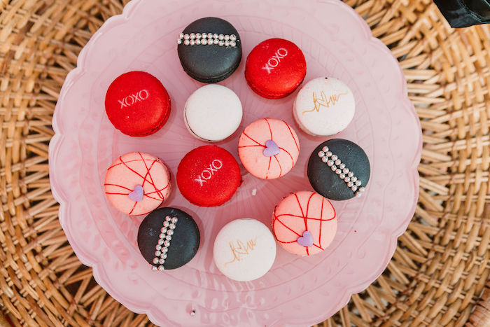 """Valentine Macarons from a """"You're a Heartbreaker"""" Rock & Roll Valentine's Day Party on Kara's Party Ideas   KarasPartyIdeas.com (8)"""