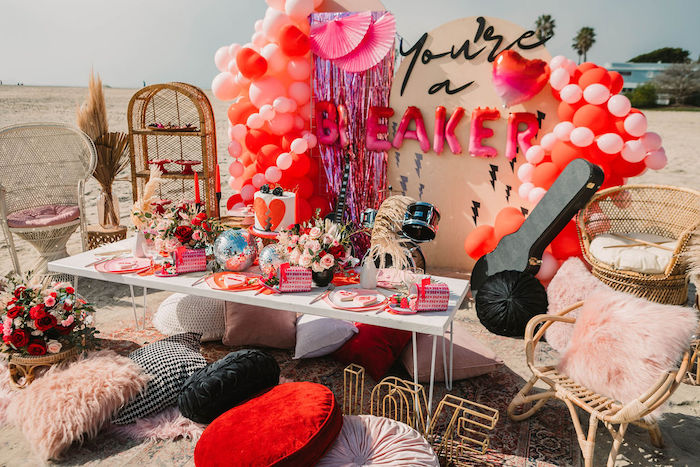 """Guest Table from a """"You're a Heartbreaker"""" Rock & Roll Valentine's Day Party on Kara's Party Ideas   KarasPartyIdeas.com (5)"""