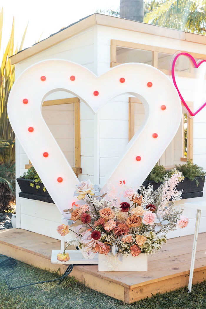 Heart Marquee from a 70's Valentine Love Bug Party on Kara's Party Ideas | KarasPartyIdeas.com (30)