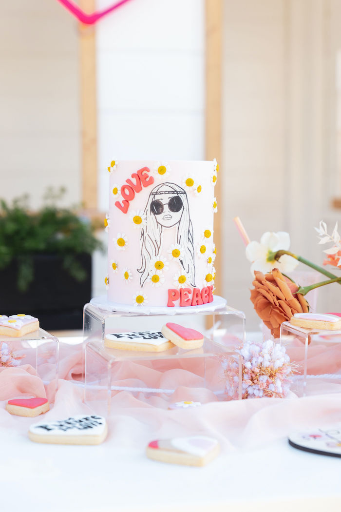 Retro Love Cake + Guest Table from a 70's Valentine Love Bug Party on Kara's Party Ideas | KarasPartyIdeas.com (27)