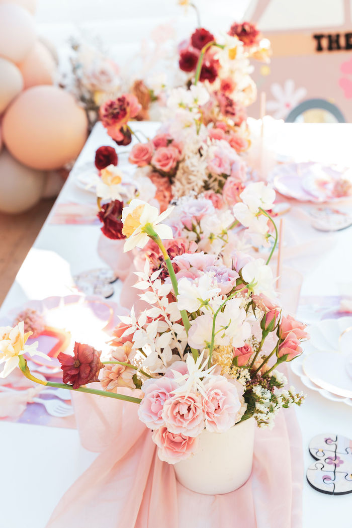 Guest Table Blooms from a 70's Valentine Love Bug Party on Kara's Party Ideas | KarasPartyIdeas.com (20)