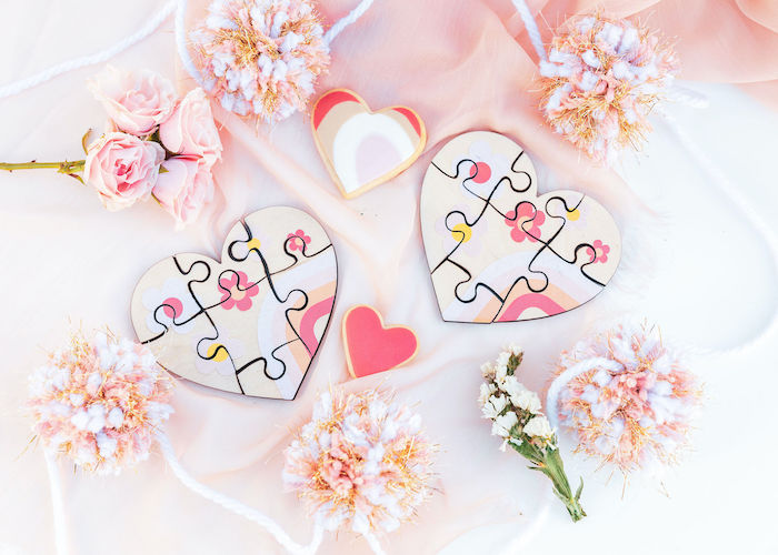 Floral Heart Puzzles from a 70's Valentine Love Bug Party on Kara's Party Ideas | KarasPartyIdeas.com (14)