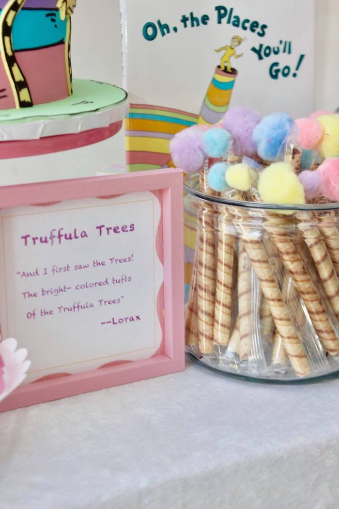 "Wafer Stick Truffula Trees from a Dr. Seuss ""Oh the places You'll Go"" Party on Kara's Party Ideas 