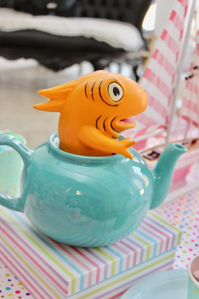 """A Fish Out Of Water"" Centerpiece from a Dr. Seuss ""Oh the places You'll Go"" Party on Kara's Party Ideas 